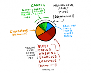 How an full life is split into your childhood, care time, and career, and how much time your career takes up in your life