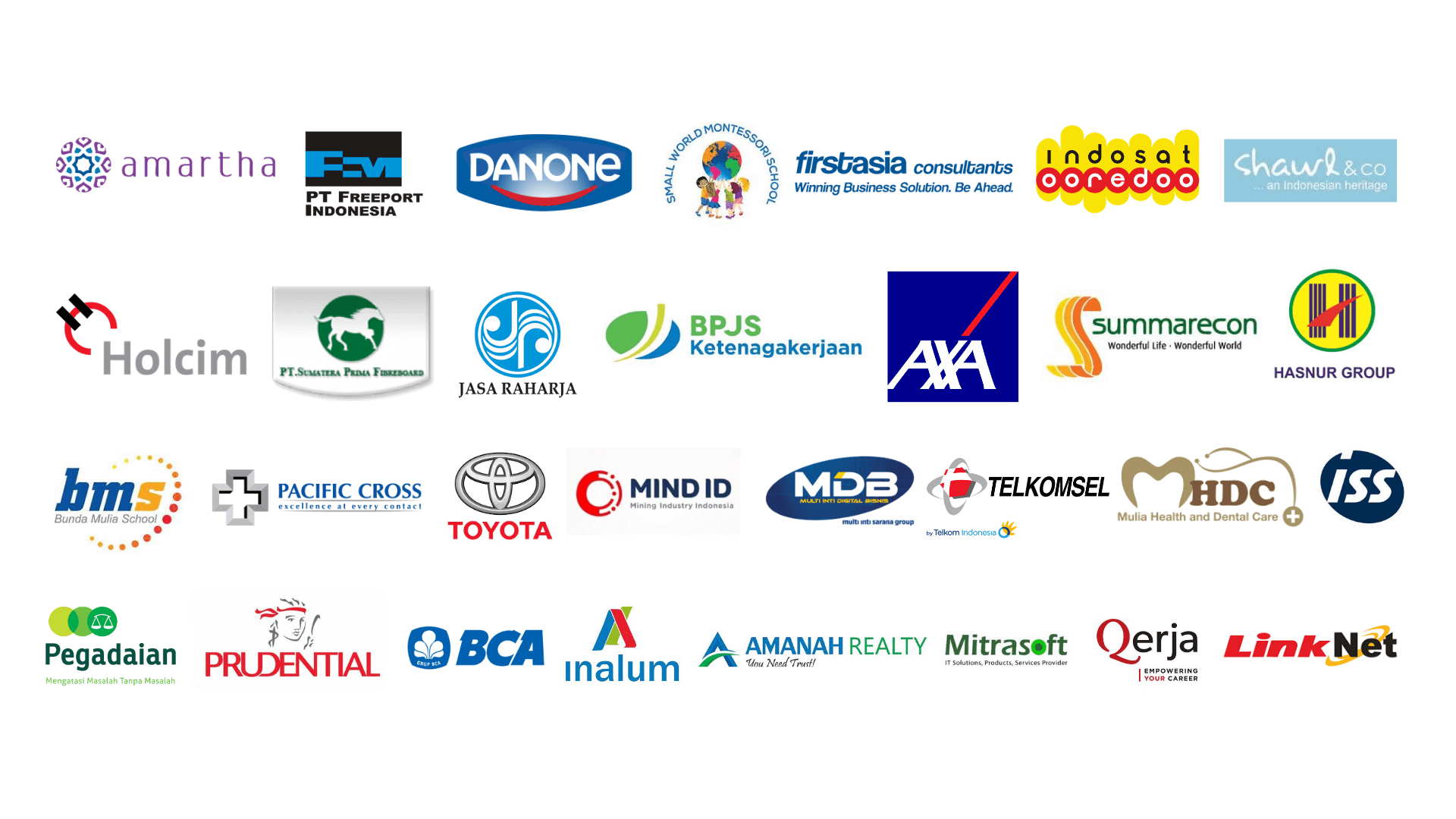 logos of the companies that have worked together with 3V Company